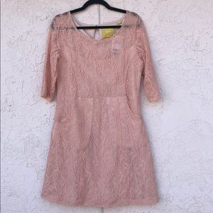 Anthropologie Maeve Blush Pink Lace Lefkara Dress